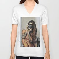 hello beautiful V-neck T-shirts featuring Hello Beautiful by Kim Maria Morrow