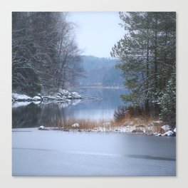 Blue Moment By The Lake Canvas Print