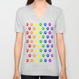 Rainbow paws pattern Unisex V-Neck