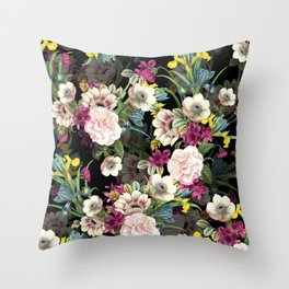 Midnight Botany Throw Pillow