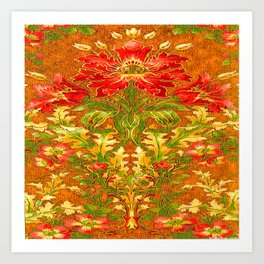 French Nouveau Red-Green Floral Caramel Color Designs Art Print