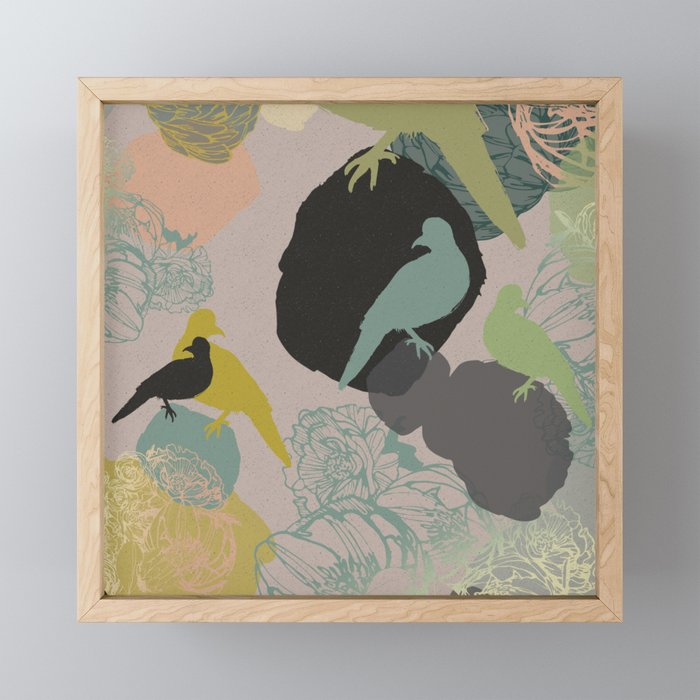 Birds on rocks Framed Mini Art Print