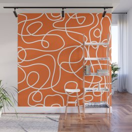 Doodle Line Art | White Lines on Persimmon Orange Wall Mural