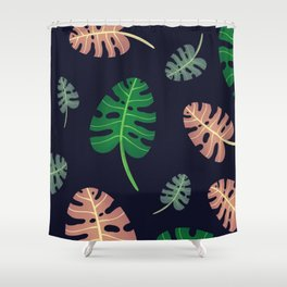 Leafy Monstera Pattern Shower Curtain