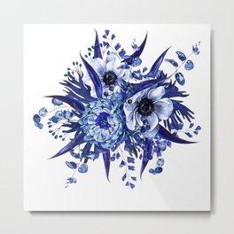 Blue China Porcelain, Flower, Floral Metal Print