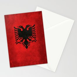National flag of Albania with Vintage textures Stationery Cards