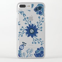 Porcelain Flowers Clear iPhone Case