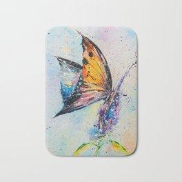 Butterfly on fiower Bath Mat