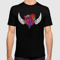 Flying Heart Black X-LARGE Mens Fitted Tee