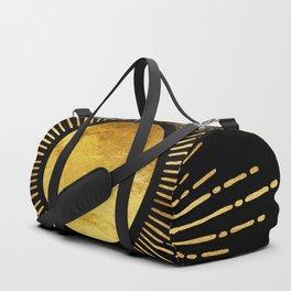 Golden Sunburst Starburst Noir Duffle Bag