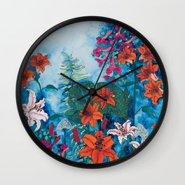 Blue Jungle of Orange Lily and Pink Trumpet Vine Floral Wall Clock