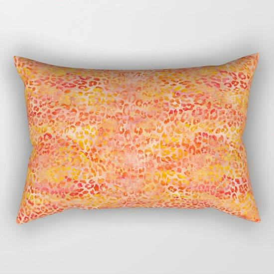 Orange Leopard Print Rectangular Pillow
