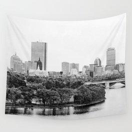 Black & White Boston Skyline III Wall Tapestry