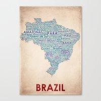 brazil Canvas Prints featuring Brazil by Wordmaps