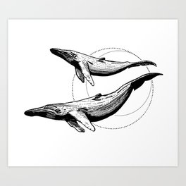Whales - HandDrawing Art Print