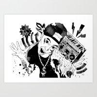 rap Art Prints featuring rap by Dagmara Jagodzinska