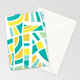 Broken Blue And Yellow Abstract Stationery Cards