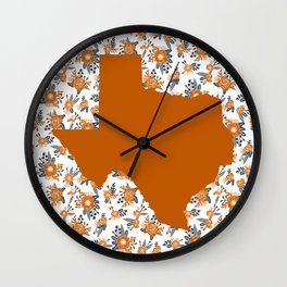 Texan texas longhorns orange and white university college football floral Wall Clock