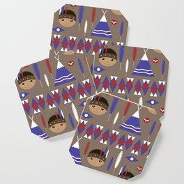 Seamless kids cute American indian native retro background pattern Coaster