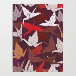 Japanese Origami paper cranes symbol of happiness, luck and longevity, sketch Poster