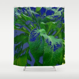 ABSTRACTED GREEN & PURPLE GARDEN LEAVES  MODERN ART Shower Curtain