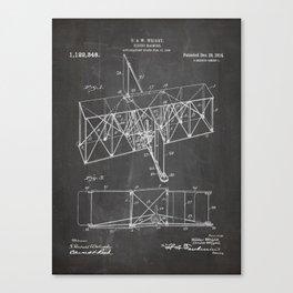 Wright Brother'S Machine Patent - Airplane Art - Black Chalkboard Canvas Print
