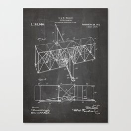 Wright Brother'S Machine Patent - Airplane Art - Black Chalkboard Canvas Print