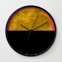 sunset Wall Clocks featuring Abstract Sunset by Georgiana Paraschiv