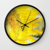 sunflower Wall Clocks featuring Sunflower by Maria Heyens