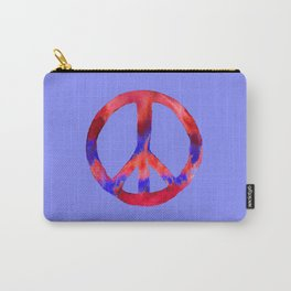 Patriotic Peace Sign Tie Dye Watercolor on Blue Carry-All Pouch