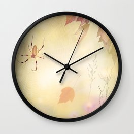 Autumn background with a spider and leaves Wall Clock