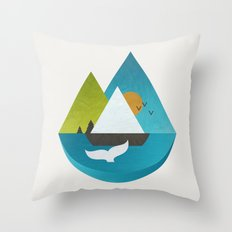 Whale Whatching Throw Pillow