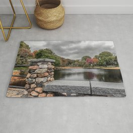 Cloudy autumn day at Millbrook Pond Rockport Rug