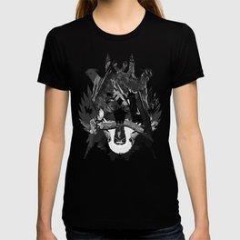 budgie hangs upside down on the branch vector art black white T-shirt