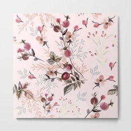 Beautiful vector pink print with wild rose berries Metal Print