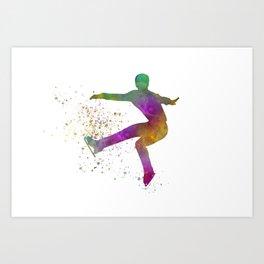 Figure skating on ice-watercolor 08 Art Print
