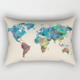 World Map Watercolor Linen Blue Red Yellow Green Rectangular Pillow