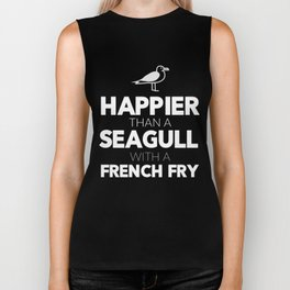 Happier Than a Seagull with a French Fry Biker Tank