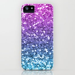 Bright Blue Purple Glitters Sparkling Pretty Chic Bling Background iPhone Case