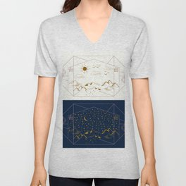Day and Night Landscapes Unisex V-Neck