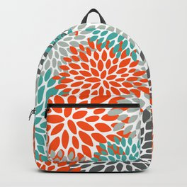 Floral Pattern, Abstract, Orange, Teal and Gray Backpack