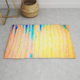 Orange Pantone Ocean Blue Lines Rug