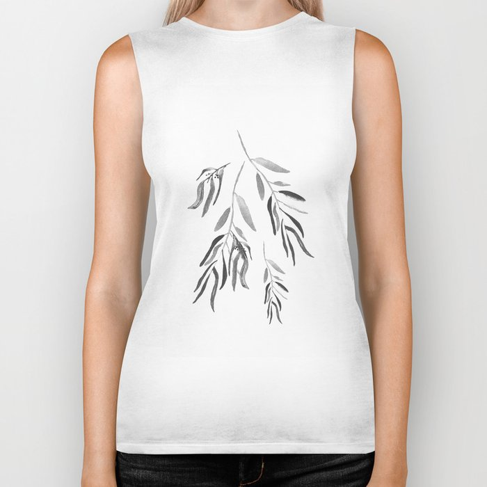 Eucalyptus Branches II Black And White Biker Tank