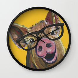 Pig with Glasses Art, Farm Animal, Cute Pig Art Wall Clock