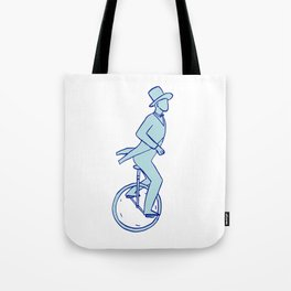 Circus Performer Riding Unicycle Drawing Tote Bag