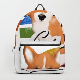 Cute corgi dog  ,retro background tshirt  Backpack