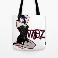 pinup Tote Bags featuring PinUp by Mack Wisedzines Tompkins III