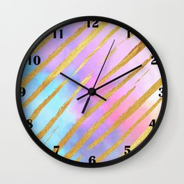 Golden Striped Pastel Wall Clock
