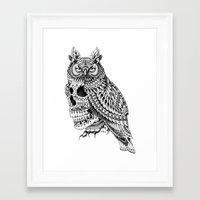bioworkz Framed Art Prints featuring Great Horned Skull by BIOWORKZ