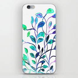 Shiny Silver Teal Leaves iPhone Skin